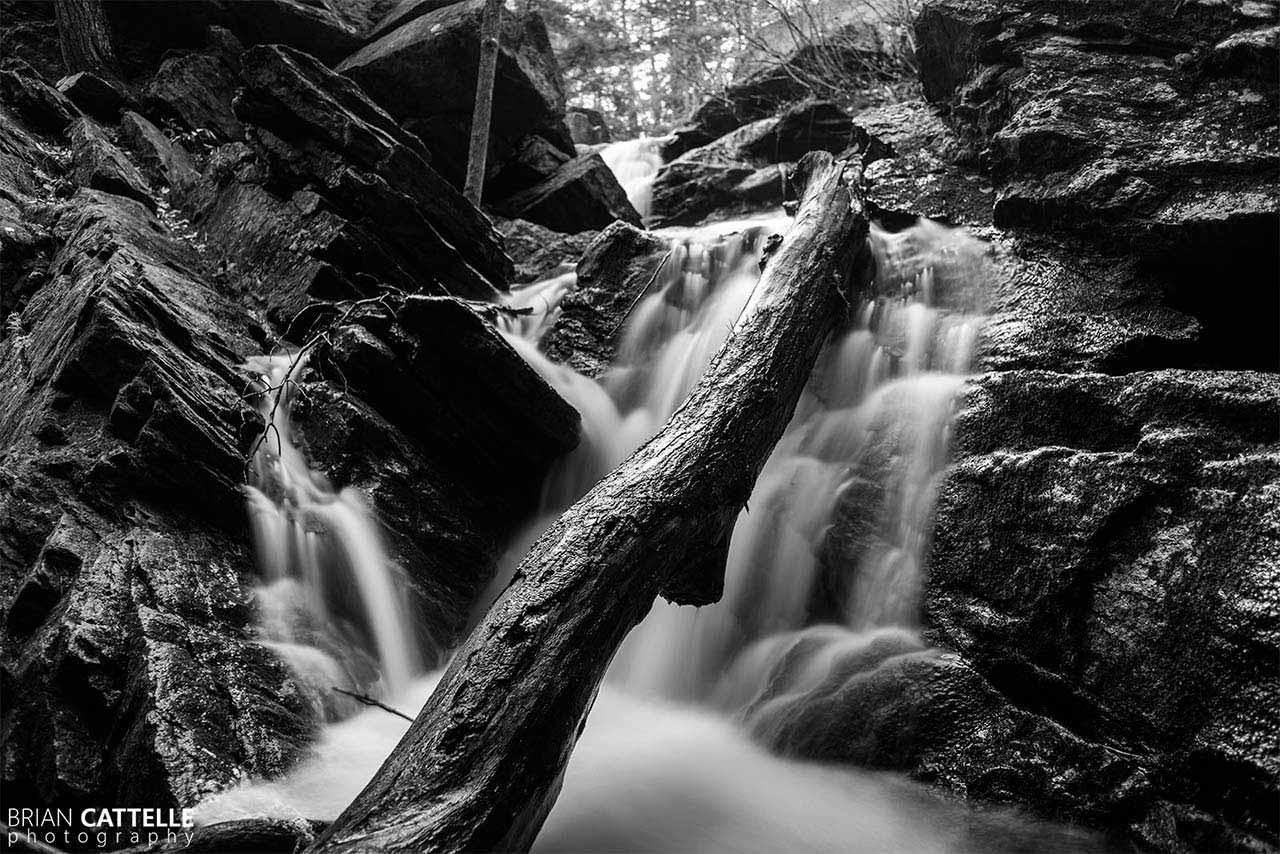 Brian Cattelle Fine Art Black and White Photography Purgatory Falls - Lower Falls Study 04