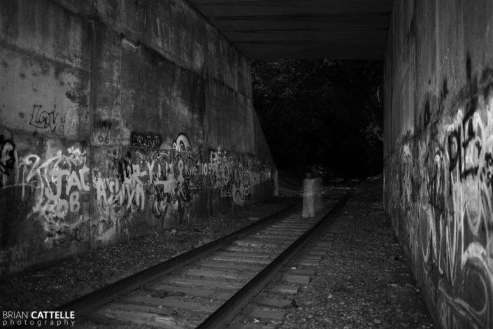 Black and White Photo Prints Kate on the Railroad