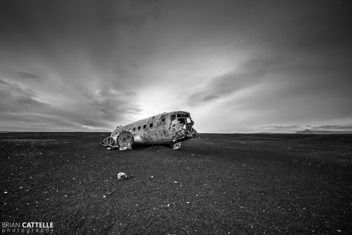 Black and White Photography Airplane Crash