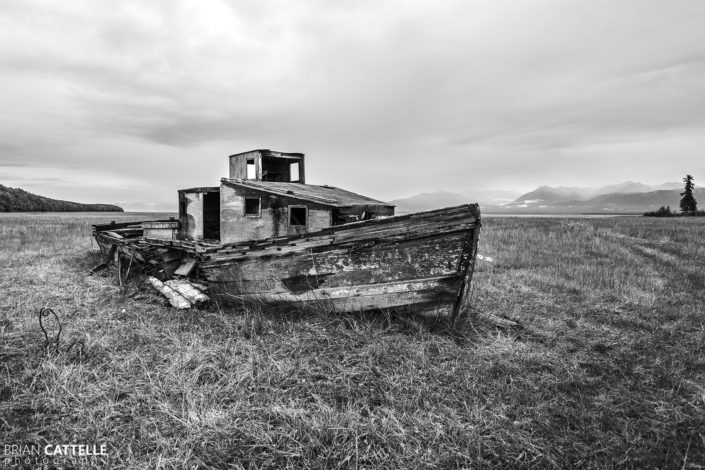 Fine Art Black and White Photography abandoned boat